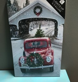 Decor Red Truck w/ Wreath LED Sign