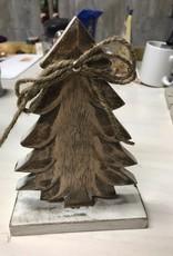 Decor White Wood Tree Figure Sm
