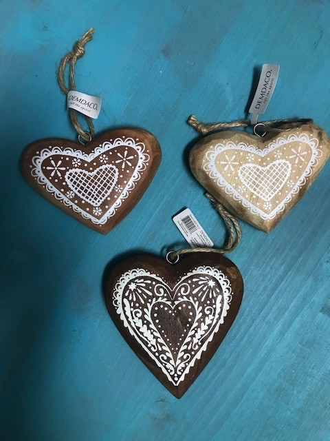 Ornament Wood Heart Ornaments
