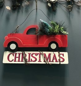 Decor Red Truck Christmas Wall Art
