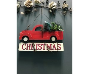 decor red truck christmas wall art glitz spurs - Christmas Truck Decor