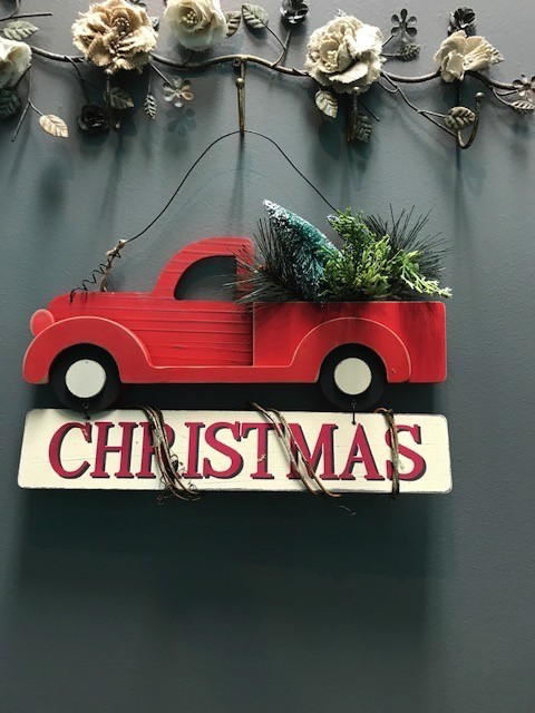 decor red truck christmas wall art - Red Truck Christmas Decor