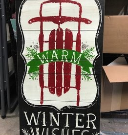 Decor Winter Wishes Sled Wall Art 18x36""