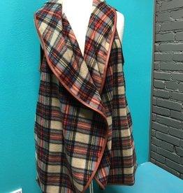 Vest Camel Plaid Vest w/ Pockets