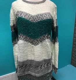 Sweater Teal/Gray Fringe Sweater