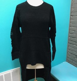 Sweater Black HiLo Distressed Sweater
