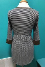 Top 3/4 Sleeve Stripe Top w/ Button and Suede Detail