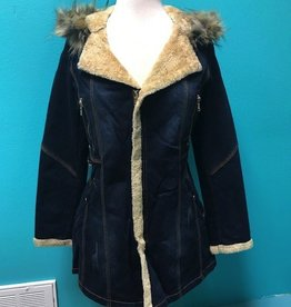 Jacket Denim Jacket w/ Fur LIned Hood