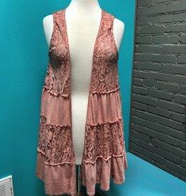 Vest Rose Tiered Flared Vest