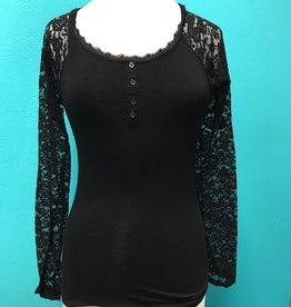 Long Sleeve Lace Trimmed Long Sleeve