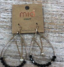 Jewelry Black Beads Pearl Gold Earrings