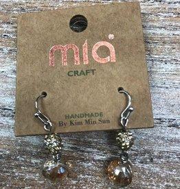 Jewelry Tan & Rhinestone Bead Earrings