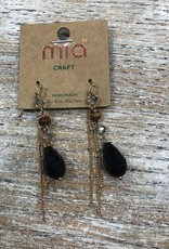 Jewelry Long Dangle Earrings w/ Black Bead