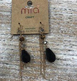 Jewelry Long Dangle Earrings w/ Black Bead