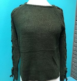 Sweater Olive Lace Up Sleeves Sweater