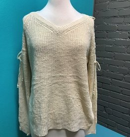 Sweater Ivory Lace Up Sleeves w/ Slit Sweater