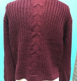 Sweater Wine Lace Up Back Cable Sweater