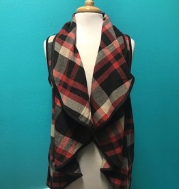 Vest Plaid Waterfall Open Front Vest