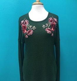 Long Sleeve LS Tunic Top w/ Floral Embroidery