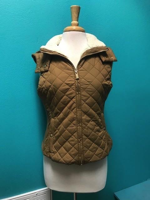 Vest Quilted Hood Vest Faux Lining