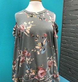 Long Sleeve Gray Floral Cold Shoulder LS