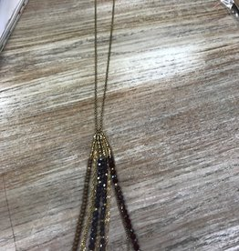 Jewelry Long Gold Neclace w/ Colorful Beads