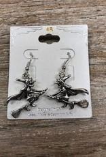 Jewelry Silver Witch Dangle Earrings