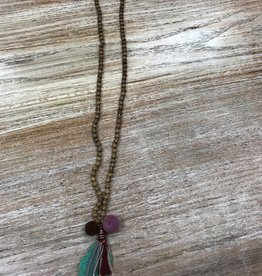 Jewelry Wood Bead Feather Necklace