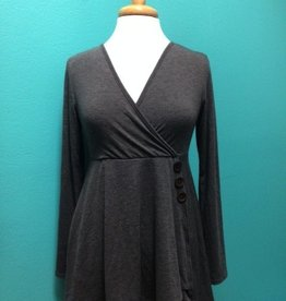 Long Sleeve Charcoal Faux Wrap w/ Buttons