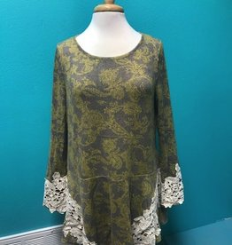 Tunic Drop Waist Top w/ Lace Detail