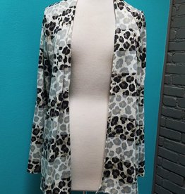 Cardigan Animal Print Cardi w/ Elbow Patch