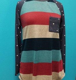 Long Sleeve Polka Dot/Stripe Tunic w/ Pocket