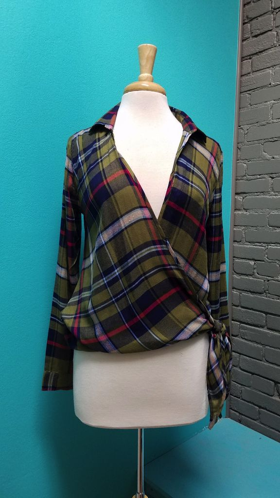 Top Plaid Wrap Top