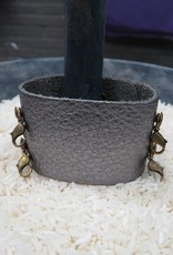 Jewelry Gunmetal Wide Leather Cuff