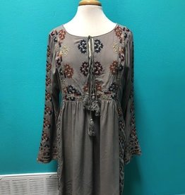 Dress LS Floral Embroidered Dress w/ Tassels