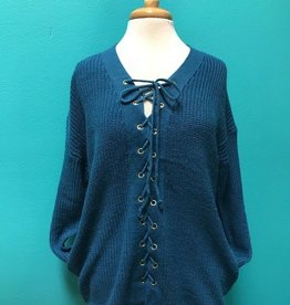 Sweater LS Lace Up Front Knit Sweater