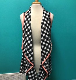 Vest Plaid Vest w/ Peach Trim