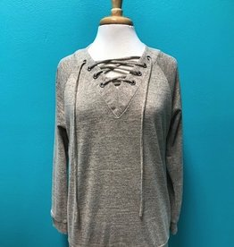 Long Sleeve Long Sleeve Top w/ Lace Up Front