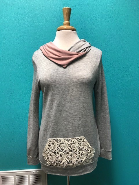 Hoodie French Terry Hoodie w/ Lace Pocket