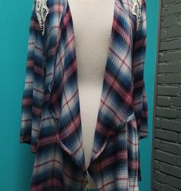 Cardigan Plaid Draped Cardigan w/ Shoulder Lace