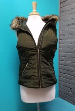 Vest Zip Front Hoodie Vest w/ Sweater Knit Back