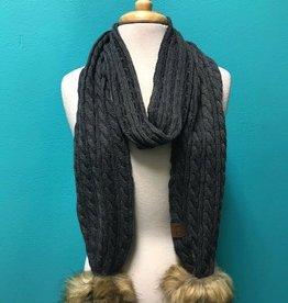 Scarf Knit Scarf w/ Fur PomPom
