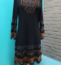 Dress 3/4 Bell Sleeve Embroidered Knit Dress