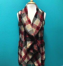 Vest Brown/Red Plaid Vest w/ Pockets