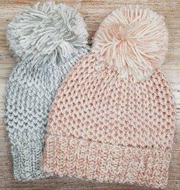 Hat Waffle Knit Pom Hat