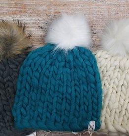 Hat Chunky Hand Knit Pom Hat