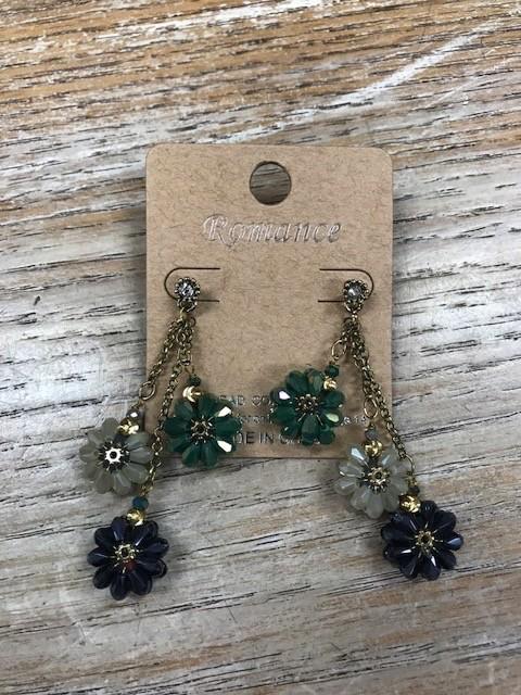 Jewelry Dangle Rhinestone Flower Earrings