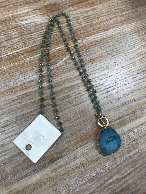 Jewelry Teal Beads Druzy Necklace