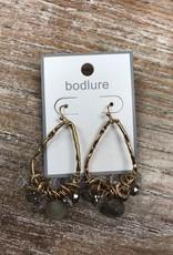 Jewelry Gold Dangle Gray Beaded Earrings