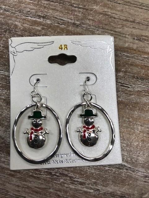Jewelry Circle Snowman Earrings